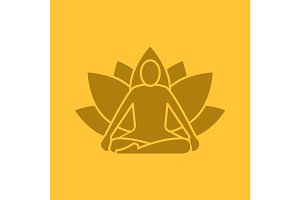Yoga position glyph color icon