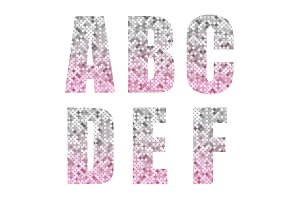 Beautiful trendy glitter alphabet letters with silver to pink ombre