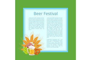 Beer Festival Poster with Tasty Food and Beverage