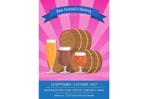 Beer Festival Is Waiting Vector Illustration.