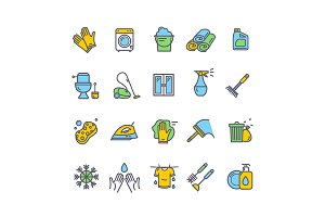 Household and Cleaning Icon Set.
