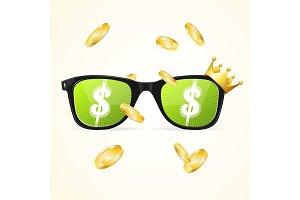 Glasses Winner Casino Concept