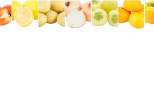Lines from different yellow vegetables and fruits, isolated