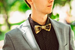 Handsome young guy with a bow tie