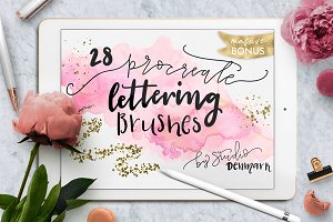 Procreate Lettering Brushes + Bonus