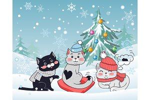 Happy Winter Friends. Three Little Cats. Vector