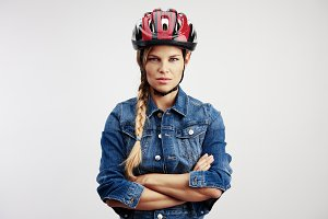 Woman in bike helmet