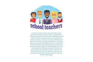 School Male Female Teachers Vector Illustration