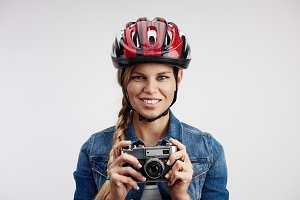 Woman in bike helmet