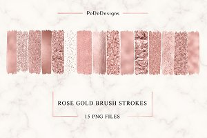 Rose Gold Strokes Clip Art
