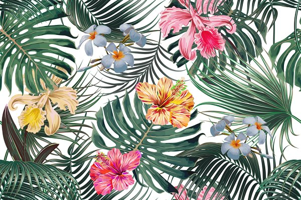 Tropical Leaves Flowers Pattern Pre Designed Illustrator Graphics Creative Market Tropical leaves and flowers doodles drawing ideas/ bullet journal dood. tropical leaves flowers pattern