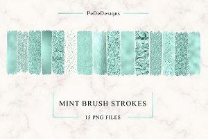 Mint Strokes Clip Art