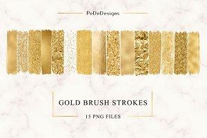 Gold Strokes Clip Art