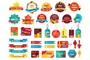 Shopping Autumn Stickers on Vector Illustration