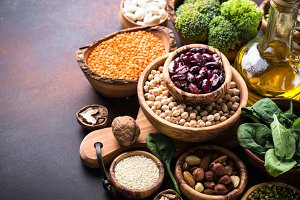 Healthy vegan food assortment.