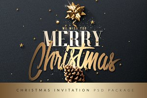 Christmas Invitation Psd Package v3
