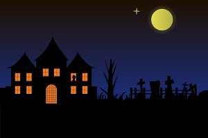 Halloween landscape with dark house