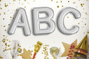 Silver foil balloon letters