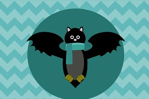 bat in a scarf on zigzag background