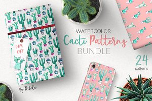 Watercolor Cacti Patterns BUNDLE