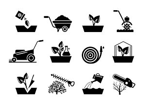 Gardening and flowers icons