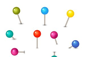 Set of colored pins with knob