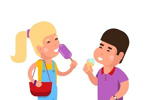 Kids with ice cream illustration