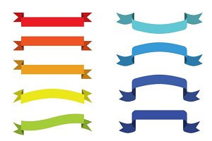 Colorful scroll ribbons banners