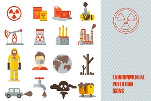 16 environmental pollution icons
