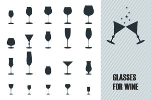 Glasses for wine icons