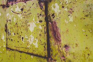 Green Rusty Old Metal Door