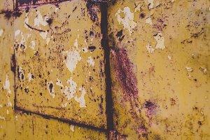 Yellow Rusty Old Metal Door