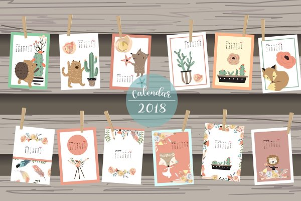 Calendar 2018 with cute animal 2#