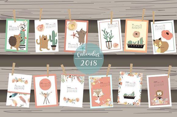 Calendar 2018 with cute ani-Graphicriver中文最全的素材分享平台