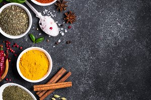 Spices on black