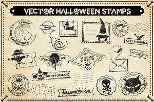 Vector Halloween Stamps Set