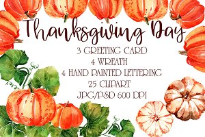 "Watercolor set - ""Thanksgiving day"""