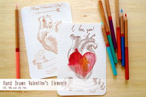 Hand Drawn Valentine's Elements.