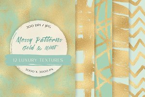 Messy Patterns. Gold & Mint.