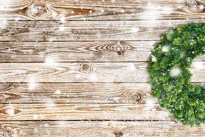 Christmas decoration wreath snow