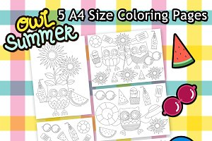 Owl Summer Digital Coloring Pages