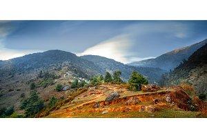 Himalaya mountain landscape. Trekking in Nepal