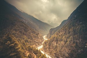 Mountain Valley. Beautiful river landscape