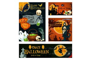 Halloween holiday trick or treat night banner