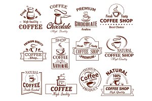 Vector icons set of coffee cups for coffeeshop