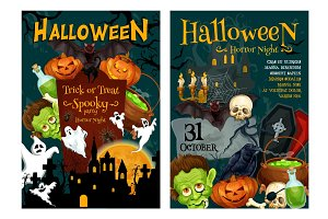 Halloween ghost and pumpkin night party poster