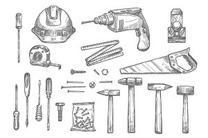 Vector sketch icons of repair work tools