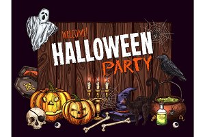 Halloween horror party sketch banner design