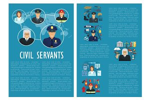 Vector civil servants judge police aviation poster