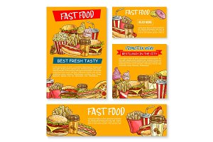 Fast food restaurant vector sketch posters